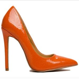 Nimo- Orange Pointy Toe Faux Snakeskin Patent Pump